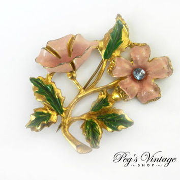 Antique Art Deco Pink Enamel Flower Pin Brooch, Pressed Pot Metal Flower Victorian Brooch