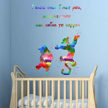 kcik1990 Full Color Wall decal Watercolor Character Disney Winnie the Pooh Tigger quote Sticker Disney children's room