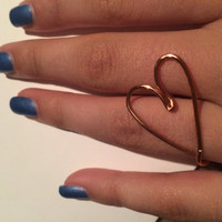 Adjustable Heart Design Wire Ring