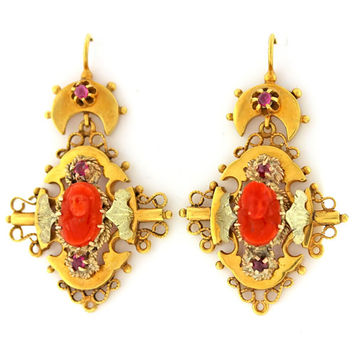 1870s Antique Victorian Etruscan Red Coral 14k Solid Yellow Gold Dangle Earrings