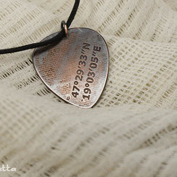 "GPS coordinates- guitar pick necklace  -guitar gifts for music lowers or rockstars - large - ""Classy Pick"" brand"