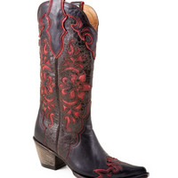 Stetson Boots Women's Rustic Brown Vamp With Wine Underlay Boot