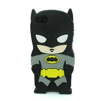 DD(TM) Style03 3D Cute Cartoon Super Hero Black Batman Soft Silicone Case Skin Protective Cover for Apple iPhone 5C with 3 in 1 Anti-dust Plug/LCD Cleaning Cloth/Cable Tie