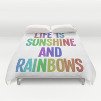 life is sunshine and rainbows Duvet Cover by studiomarshallarts