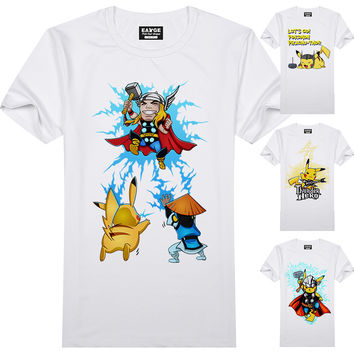 Pokemon Go T Shirt Fashion New Design Pikachu Funny Cool T-shirt Short Sleeve Anime White Printed Tshirt Men Unisex Tee
