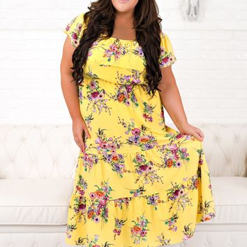 Curvy Time For Vacation Floral Dress (Yellow)