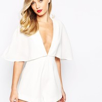 Finders Keepers Natural History Plunge Neck Playsuit In White