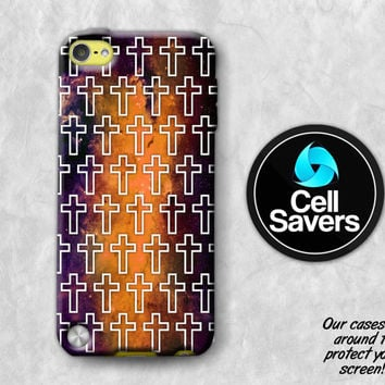 Cross Pattern iPod 5 Case iPod 6 Case iPod 5th Generation iPod 6th Generation Rubber Case Gen Christian Pattern Galaxy Space Yellow Hipster