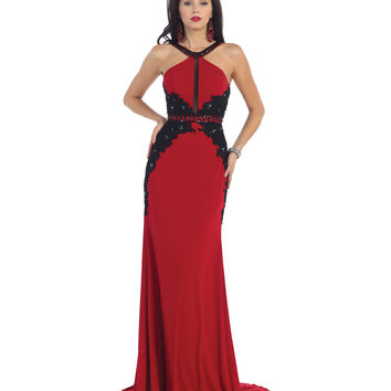 Red & Black Lace Open Back Halter Gown 2015 Prom Dresses