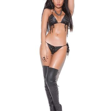 2 piece set Leather lace up bra and g-string  *Available  Boxed Black