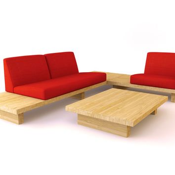 Modern Bamboo Sofa, Bamboo Float Sectional 2 | Viesso