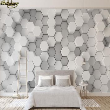 beibehang Papel De Parede 3D White geometric hexagons mosaic Photo Wallpaper Modern Bedding Room Sofa Backdrop wall paper roll