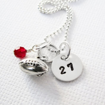 Football Necklace - Football Mom - Personalized Necklace - Sterling Silver - Initial Jewelry