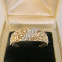 Vintage 14K Gold Nugget Diamond Ring / 4.5 Grams / Mens Size 8 / Jewelry / Jewellery