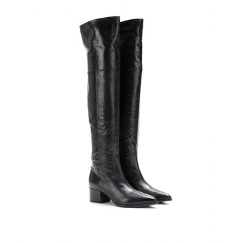 mytheresa.com -  Cracked-leather over-the-knee boots - Luxury Fashion for Women / Designer clothing, shoes, bags