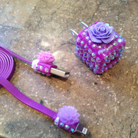 Purple mirrored Swarovski & flower iPhone 5 charger