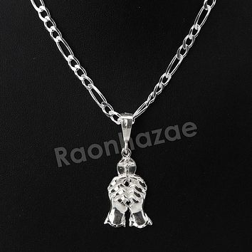 Italian .925 Sterling Silver PRAYING HANDS CROSS Pendant 5mm Figaro Necklace S06