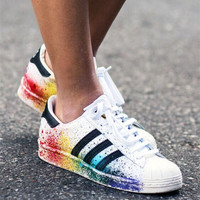 Adidas Women Multicolor Shell-toe Flats Sneakers Sport Shoes