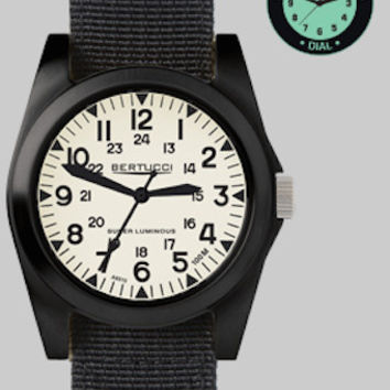 Bertucci 13355 Men's Watch A-3P Sportsman Vintage Field Black Band Super Luminous Dial