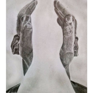 Hearing Hands-Graphite Pencil Sketch Wall Art | artist: Gagan M S
