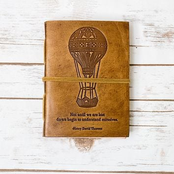 """Until We Are Lost"" Handmade Blonde Leather Journal"