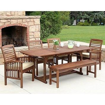 Patio Dining Set Wood Outdoor Dining Set Table Chairs Dining Chairs Set 6-Piece