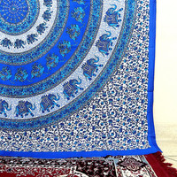 blue elephant mandala hippie tapestry, hippie wall hanging tapestries, bohemian tapestries, queen bedding throw, ethnic mandala home decor