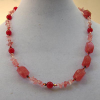 Long asymmetrical red pink gold necklace Romantic festive Valentine's gift Sparkling chunky Cherry quartz red jade Matinee necklace OOAK
