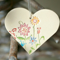 Ceramic Flower Heart Christmas Decoration Colorful Pottery Ornament