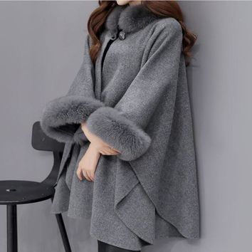 2018 Spring fashion poncho outwear fox fur collar long section wool coat, coat elegant cloak shawl jacket female christmas gift