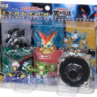 Pokemon Black & White Takaratomy Monster Collection Figure Movie Set - Victini and The Black Hero: Zekrom