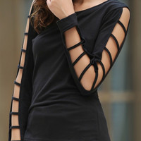 Solid Color Cut-Out Long Sleeve Top