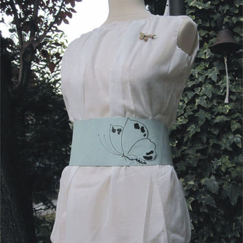 Butterfly In The Sky  Leather Obi Belt by TheButterfliesShop