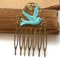 Hair Comb -  Turquoise Maroon Bird in Flight Hair Comb  Antique Victorian Style
