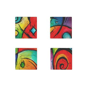 Funky Bright Abstract Art Painting Stone Magnet