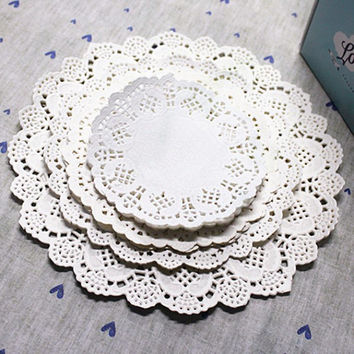 96 Round Lace Flower Paper Doilies Placemat Crafts for DIY Scrapbooking / Wedding Decoration