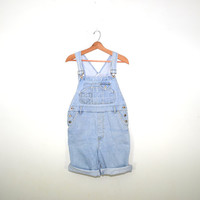 Vintage Denim Short Overalls Bib Overalls 80s Squeeze Jeans Overalls Denim Shorts Overalls Grunge Faded Light Blue Denim Bib Overalls