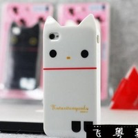 White Rilakkuma Cute Cat TPU Soft Case For iPhone 4