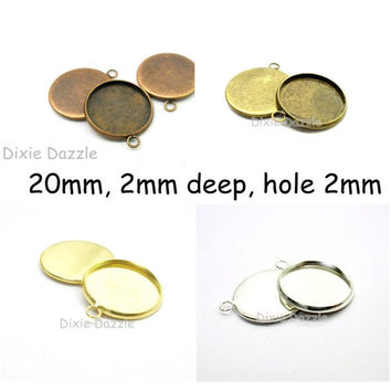 10  round Pendant Tray Blanks,  20mm round charm setting, DIY photo jewelry, holds 20mm cabochon, copper resin frame