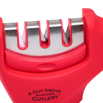 3 Stage Knife Sharpener - Sharpens Steel and Ceramic Knives Quickly and Accurately