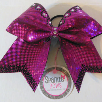 Razzmatazz Princess Trim Rhinestone Large Cheer Bow Hair Bow Cheerleading