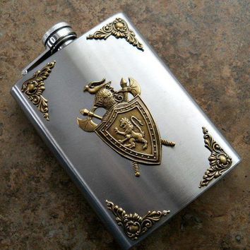Fancy Flask Brass Medievel Crest On 8 Oz Stainless Steel Flask Game Of Thrones Flask