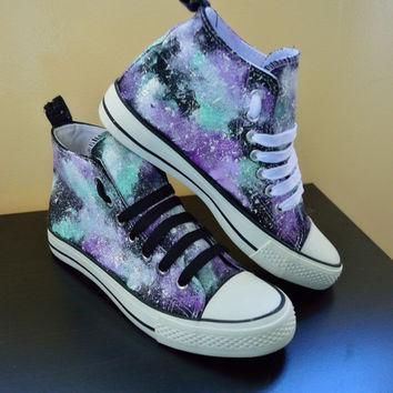 custom hand made cosmic galaxy canvas hi top trainers similar to converse style lilac