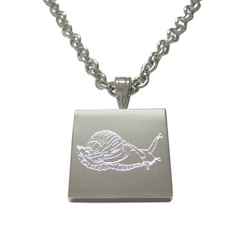 Silver Toned Etched Snail Necklace