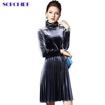 SORCHIDF Women New Sexy Velvet Mandarin Collar Vintage Elegant Dress Pleated Dress Party Dress
