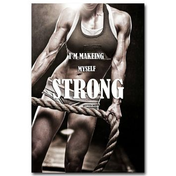 NICOLESHENTING Bodybuilding Motivational Quotes Art Silk Poster 12x18 24x36inch Fitness Exercise Wall Pictures Gym Room 020