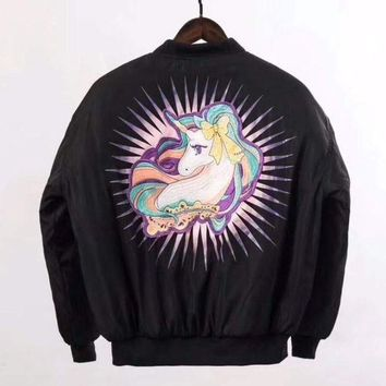 Moschino Fashion Embroidery Unicorn Cardigan Jacket Coat