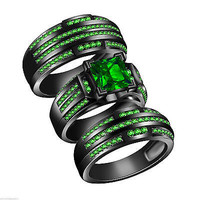 Green Sapphire Silver Trio Three Bridal Matching Wedding His & Her Ring Band Set