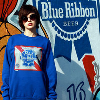 Vintage PBR Blue Sweatshirt / Pabst Blue Ribbon