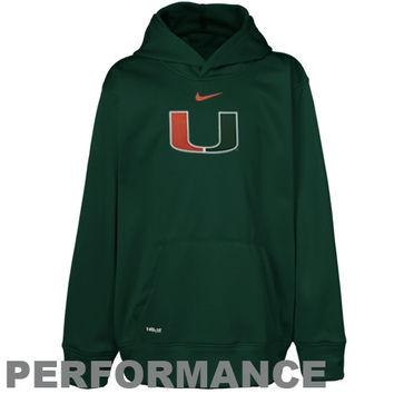 Nike Miami Hurricanes Youth Therma-FIT Printed Performance Pullover Hoodie - Green - http://www.shareasale.com/m-pr.cfm?merchantID=7124&userID=1042934&productID=520925686 / Miami Hurricanes